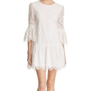AQUA Eyelet DropWaist Dress White XS